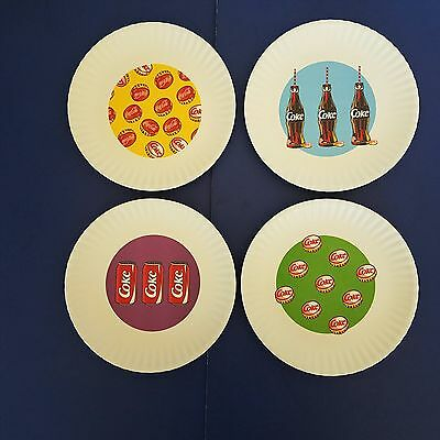 "Coca Cola Pop Art Melamine Plates Set Of 4 Resemble 9"" Paper Plates Coke Design"