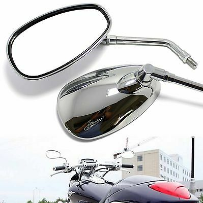 Large Universal Chrome 10mm Motorcycle Rearview Side Mirrors For Honda Motorbike