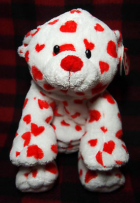 "2007 Ty Pluffies DREAMSY Hearts Valentine 10"" Bear Plush Stuffed Animal W/ Tags"
