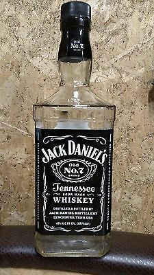 Empty Jack Daniels OLD NO. 7 1.75L Glass Whiskey Bottle Art Deco Craft Man Cave