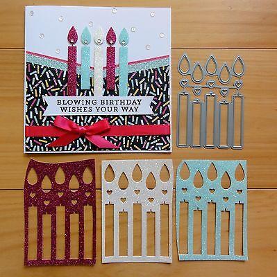 "Die-Namics Birthday Candles Celebration Cutting Die 15 Shapes ""reduced"" - Bnip"