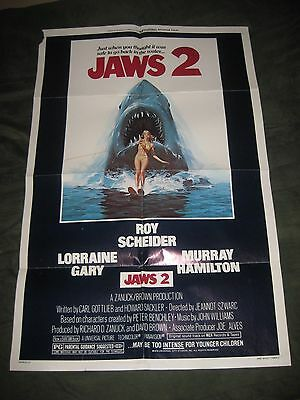 "JAWS 2 1978 Original 27"" x 41""  Folded Movie Poster / Great Color!!"