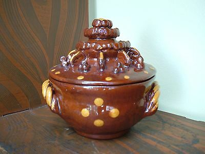 Early Lester Breininger Redware Pottery Sugar Bowl 1976 ~ Berks County Pa.