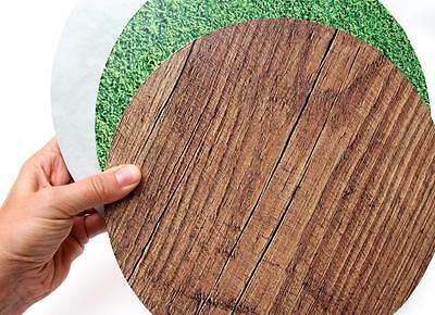 "Round Patterned Cake Display Board GRASS CONCRETE MARBLE WOOD 10"" 12"" 14"""
