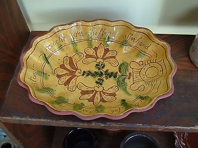 Early Lester Breininger Redware Pottery Fluted Plate 1973 ~ Berks County Pa.