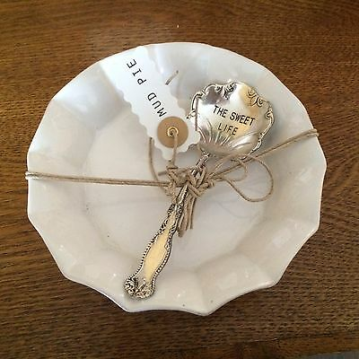 Mud Pie Footed Candy Dish Life is Sweet White Candy Bowl with Antique Look Spoon