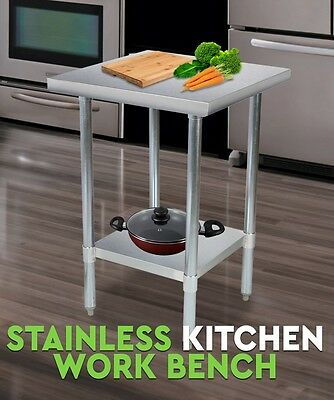 New Stainless Steel Kitchen Work Bench Food Prep Catering Table Adjustable shelf