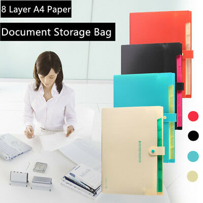 8 Layer A4 Paper File Folder Holder Document Storage Bag Office Supplies OB