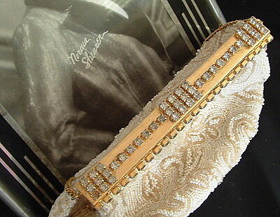 Vintage RHINESTONE BEADED PURSE JOLLES France Evening Glamour Deco 1940s