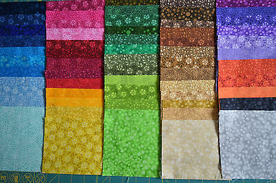 """60 x 5"""" charm squares blenders rainbow of colours patchwork & quilting fabric"""