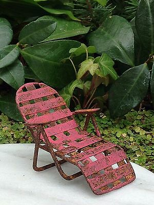 Miniature Dollhouse FAIRY GARDEN ~ Sea BEACH Lake Rustic Red Chaise Lawn Chair