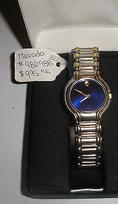 MOVADO BLUE DIAL vintage  museum watch, with original box,  very fine, early 90s