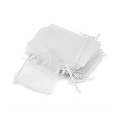 100 PCS 7x9cm Organza Jewelry Candy Gift Pouch Bags Wedding Xmas Favors White H8