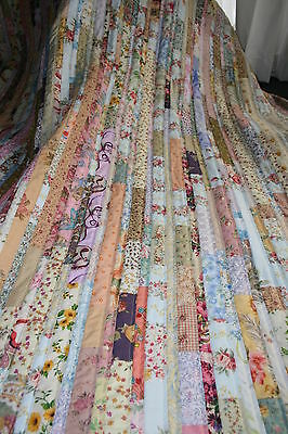 """NEW - Hand Made Quilt """"SHABBY CHIC STRIPPY"""" Design by Quilt-Addicts 78"""" x 79"""""""