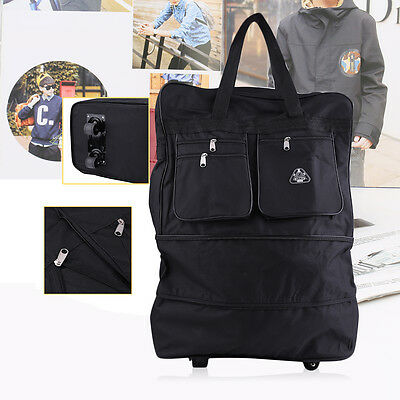 """30"""" Rolling Wheeled Tote Duffle Bag Luggage Travel Duffle Suitcase Black New MY"""