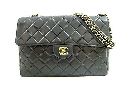 Authentic CHANEL Matelasse Chain Shoulder Tote Bag Leather Black