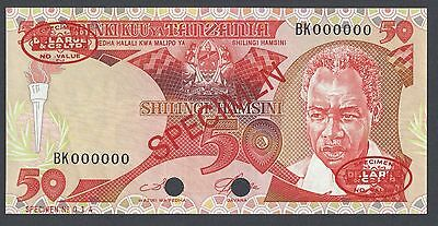 Tanzania 50 Shillings ND 1986 P13s Specimen TDLR Uncirculated