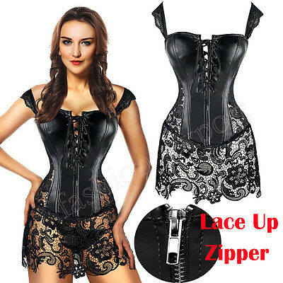 Women Faux Leather Strap Plus Size Steampunk Corset Bustier Lace up Gothic Skirt