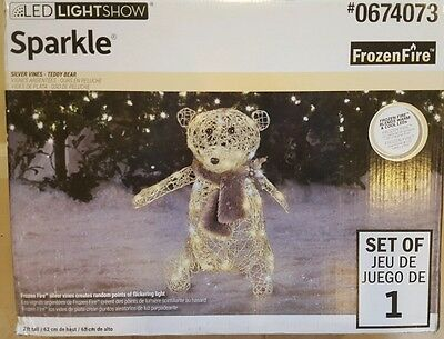 NEW- Gemmy Lighted Bear Outdoor Christmas Decoration with White LED Lights