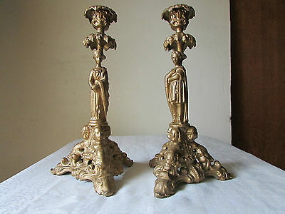 Ancienne Paire De Bougeoir Chandelier En Regule Patine Bronze Candlestick