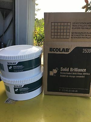 New! 1 Carton of Two Ecolab #25395 Concentrated Solid Brilliance Rinse Additive.