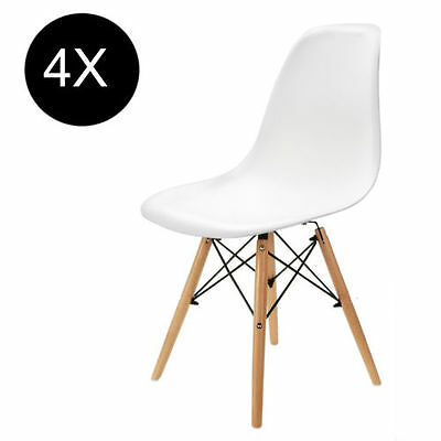 4pcs James White DSW Dining Chairs Wooden Legs Diningroom Office Lounge Chairs