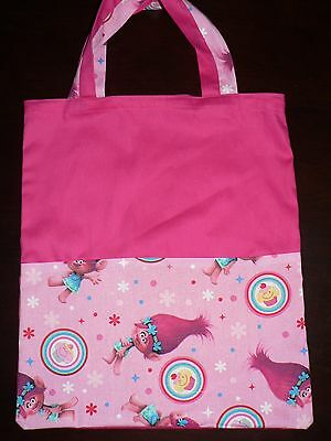 Handmade library bag with handle first name embroidered free Trolls Poppy Print