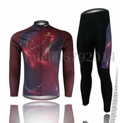 Outdoor Bike Cycling Jersey Long Sleeve Set Siamese Flash Red Wear Clothing