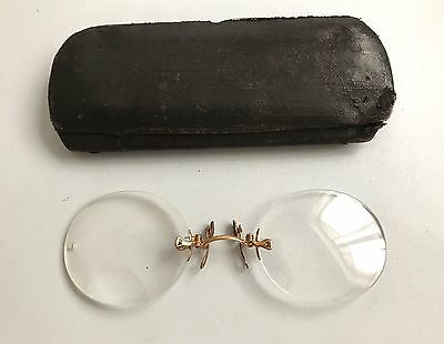 Antique Pince Nez Gold Filled Eyeglasses With Case Antique Pince Nez Good Cond