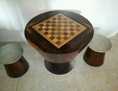 Handmade wood Games table chess and backgammon art deco style rosewood