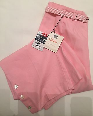 VINTAGE 1950s NOS DEAD STOCK PINK TROUSERS CAPRI PANTS with matching belt LIFE