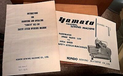 Yamato DCZ-361 Industrial Overlocker Sewing Machine Instruction Manual Booklet