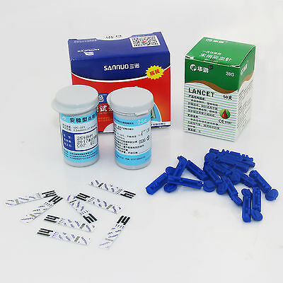 50 Blood Glucose Test Strips + 50 Lancets Needles For Sannuo Blood Glucose Meter
