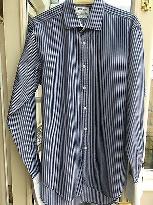 MENS TM LEWIN Blue & White Striped Shirt Limited Edition Neck15.5 Regular Fit