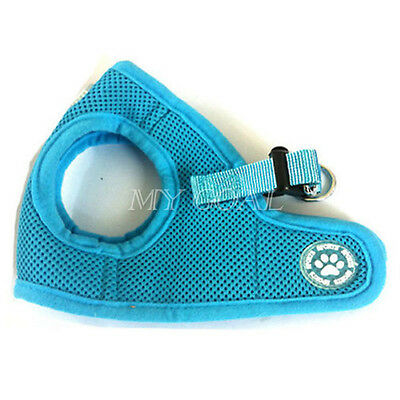 Light Blue Pet Dog CHIHUAHU Puppy Mesh Fabric Padded Harness Leash Collar Vest