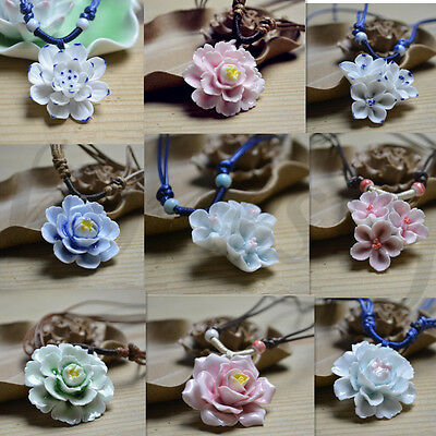 Precious Chinese Handmade Ceramic Flower Peony Lotus Jewelry Pendant Necklace