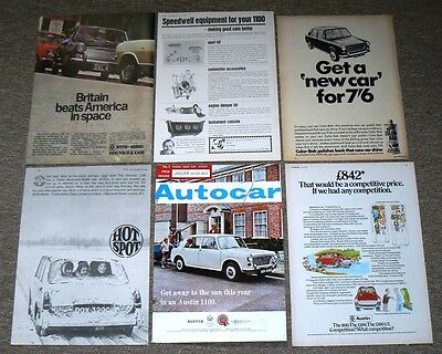 Austin 1100  6 x ADVERTs to Frame - All  Originals, NOT COPIES or Prints