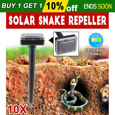 AU 10X Ultrasonic Solar Powered Multi Pulse Snake Repeller Pest Rodent Repellent