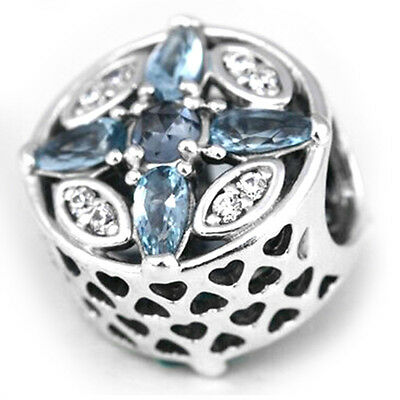 WINTER Charm 925 Solid Sterling Silver Moments Blue Stones Bead for Bracelet