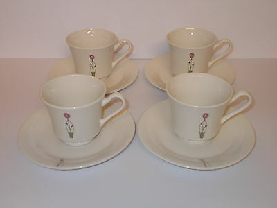 4 x Pureearth Bone China Collection Cups and Saucers Lovely