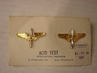 WW2-1930s US Army AIR CORPS Officers Collar Insignia - PASQUALE Co.- Pair