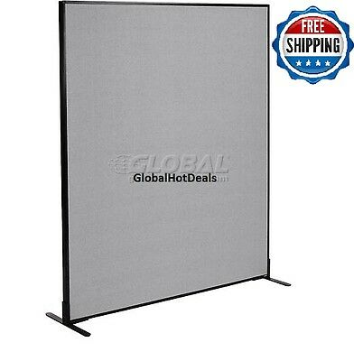 "Freestanding Office Cubicle Partition Panel, 60-1/4""W x 72""H, Gray"