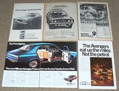 Hillman AVENGER   5x ADVERTS for Framing- originals, NOT COPIES or Prints