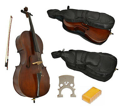 I4M1) Full Size Student Cello With Soft Case By Sotendo - Superb Instrument