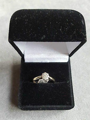 Vintage 9ct Gold & .10ct Diamond Solitaire Ring London 1976 Size M 1/2 No 4089