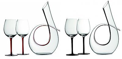 Maxwell Williams Sensations 3 Piece Decanter & Wine Glasses Glass Black or Red