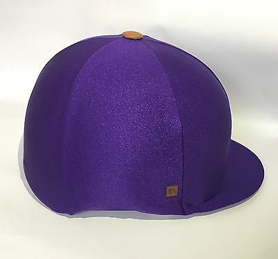 Purple Lycra Riding Hat Cover Silk Equestrian Eventing Cross Country
