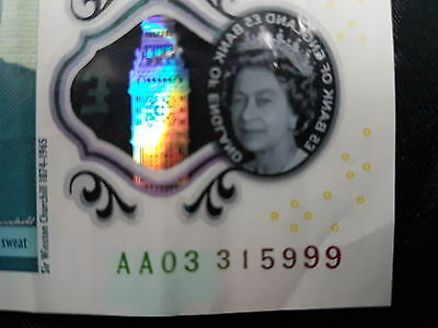 AA03 £5 Note Rare Mint Early Five Pound Note 999
