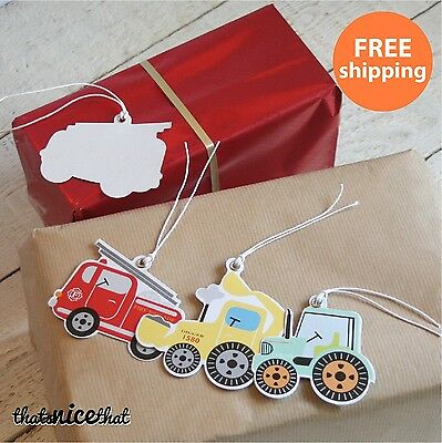 12 x Kids Birthday Gift Tags Message Christmas Digger Tractor Fun Childrens Wrap