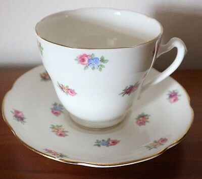 ROYAL ADDERLEY Bone China FLORAL Ditsy Flowers Cup & Saucer DUO TEA SET